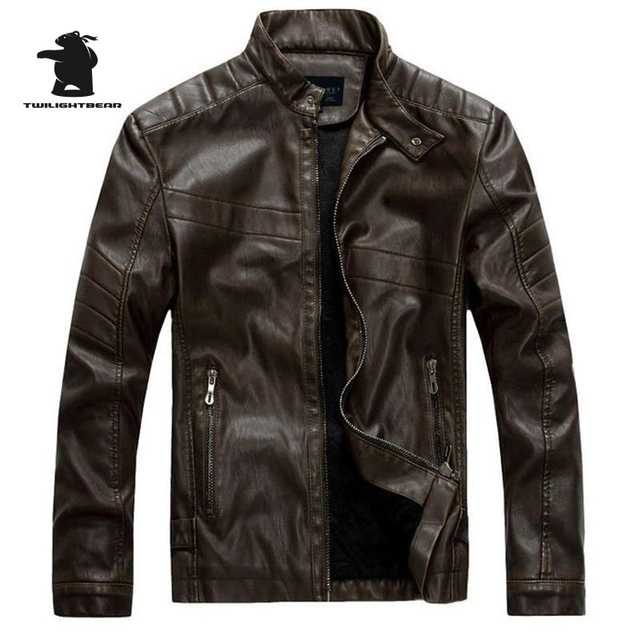 New Men's Fleece PU Leather 2016 Fashion Slim Stand Collar Casual Biker Jacket Men Bomber Jacket Leater Coats M~3XL D40F8877