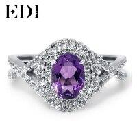 EDI 2Ct овальный аметист двойной Halo алмаз обручальное кольцо для Для женщин 14 К 585 Белое золото Южной в Корейском стиле Fabulous Обручение кольцо