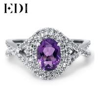 EDI 2Ct Oval Amethyst Double Halo Diamond Wedding Ring For Women 14K 585 White Gold South Korea Style Fabulous Engagement Ring