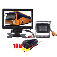 BYNCG DC 12V 24V 7TFT LCD Car Monitor Display + 18 IR Night Vision Rear View Camera for Bus Truck RV Caravan Trailers