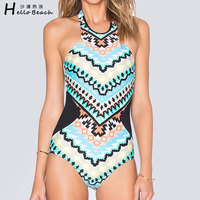 2016 New Summer One Piece SwimSuit Printed Geometry Bathing Suits Swimwear Women Bodysuit High Neck Monokini