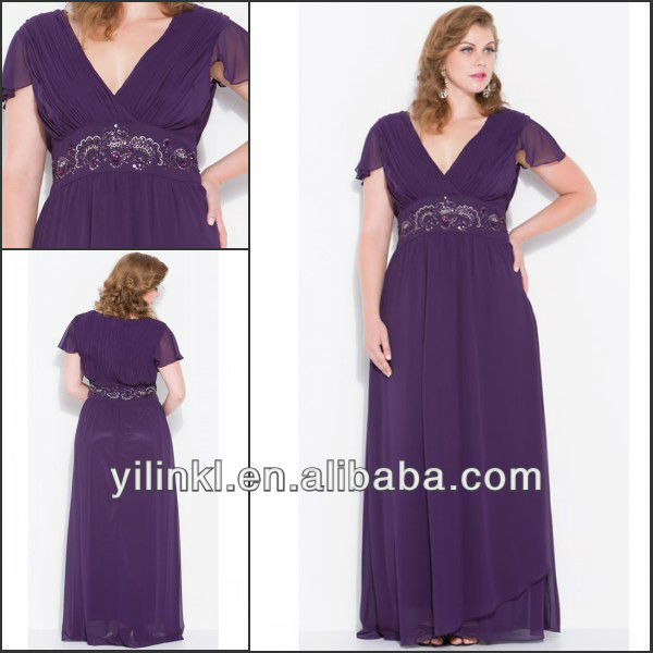 Purple Color V neck Short Sleeve Super Plus Size Bridesmaid Dresses ...