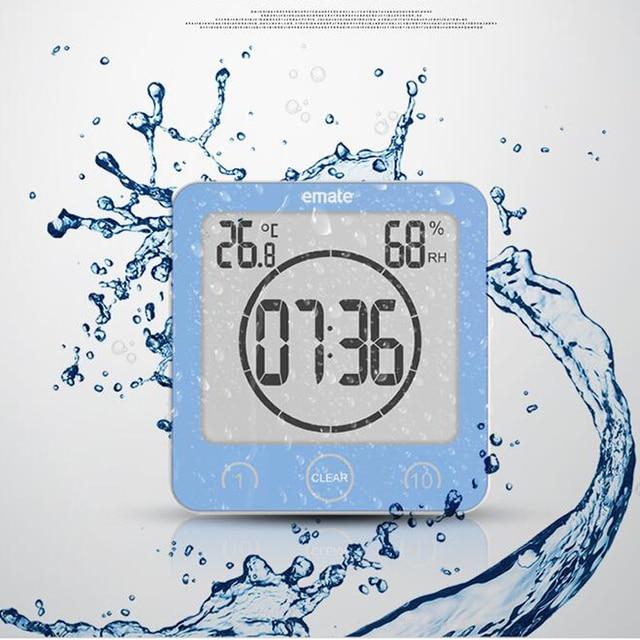 Neue Ankunft Badezimmer Uhr Wasserdicht Temperatur Luftfeuchtigkeit Innen  Digitale Selbstklebende Wanduhr