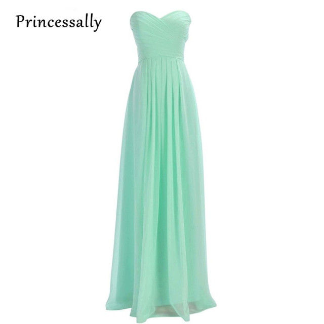 Mint Green Bridesmaid Dresses Long Sweetheart Chiffon Wedding Party ...