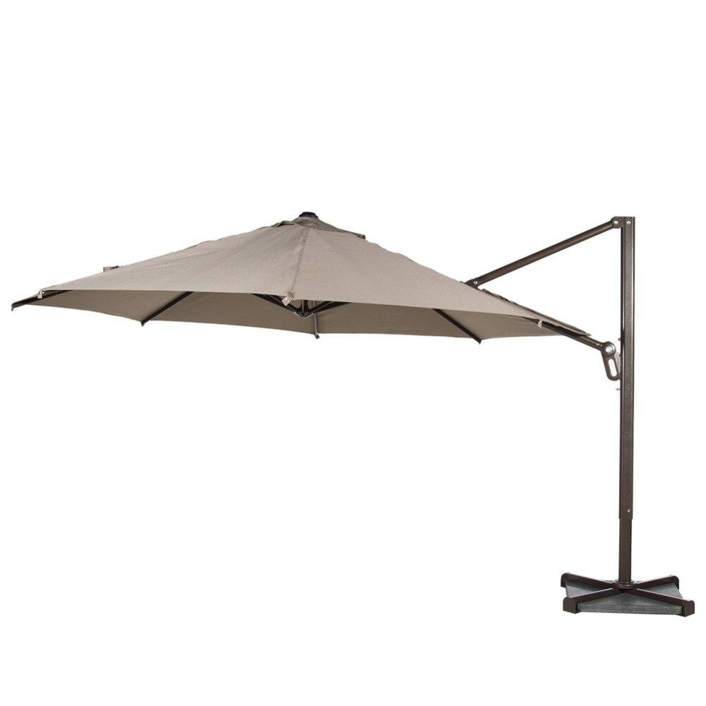 Abba Patio 11 <font><b>ft</b></font> Octagon Cantilever Vented Tilt & Crank Lift Patio Umbrella with Cross Base Tan