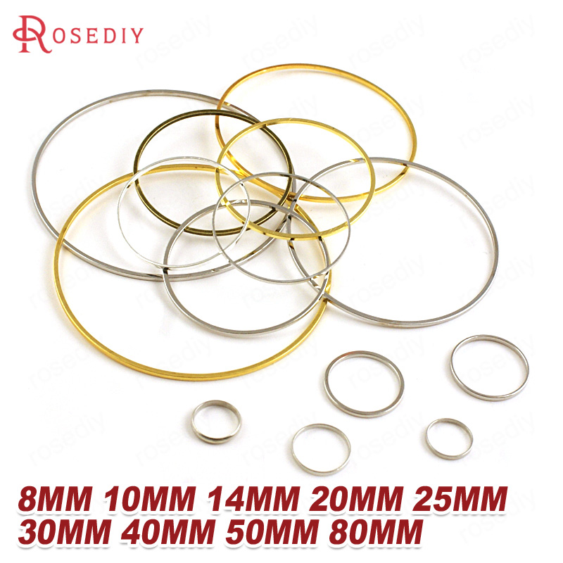 (13077)Diameter 8MM to 70MM Round Brass Closed Rings Connect Rings Jewelry Making Findings More color can picked(China)