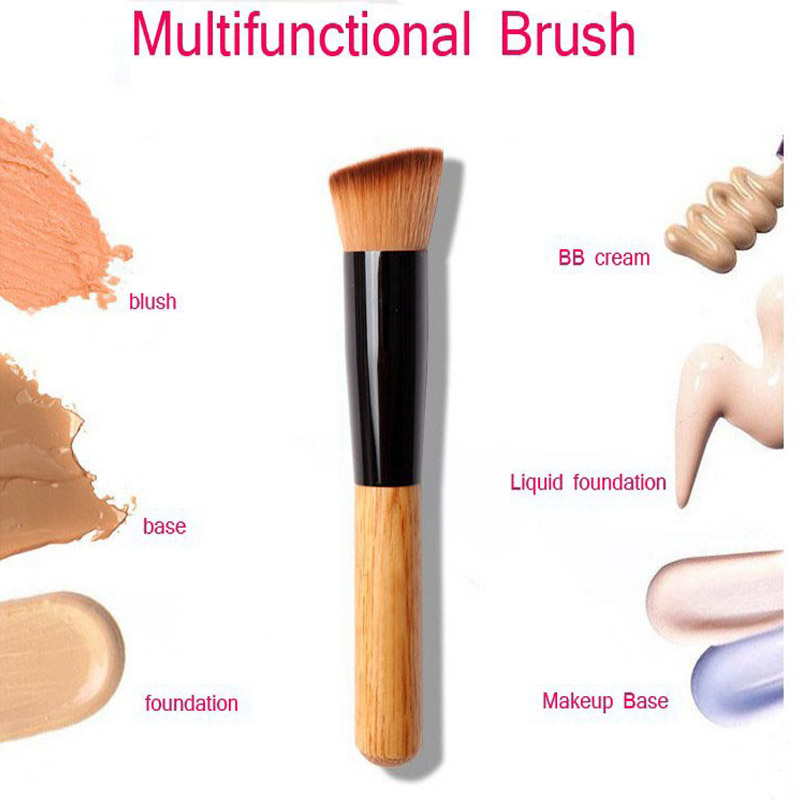 1 PC Mackup Brushes Wooden Handle Power Blush Brush Foundation Make Up Brush Beauty Tool QST Free Shipping
