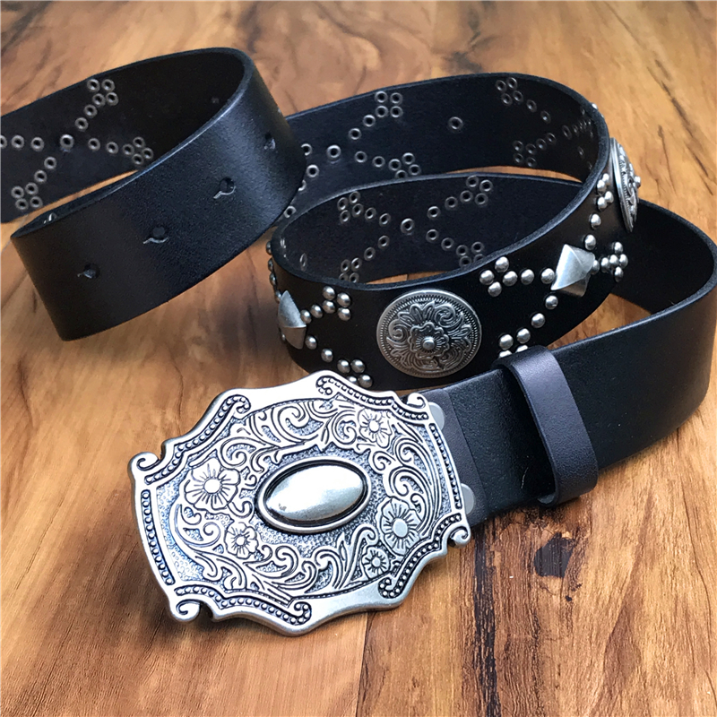 Genuine Leather Cowboy Belt Buckle Vintage Metal Rivet Punk White Belts For Men Punk Rock Jeans