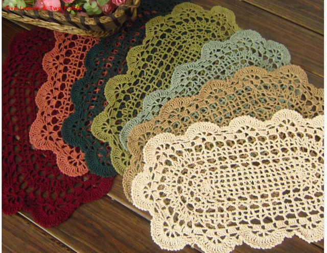 Free Shipping Crochet 20x36cm Oval Placemats Cotton Coasters
