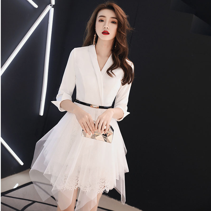 White   Cocktail     Dress   Sexy V-neck Vestido De Noche Elegante Office Lady Evening Party Gown Mini Avondjurken Gala Jurken
