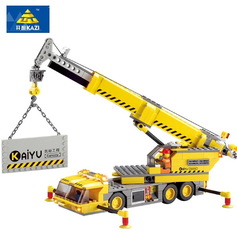 KAZI 380pcs City Crane Series Compatible LegoINGs Building Blocks Sets Model Bricks Learning Educational Toys for Children цена