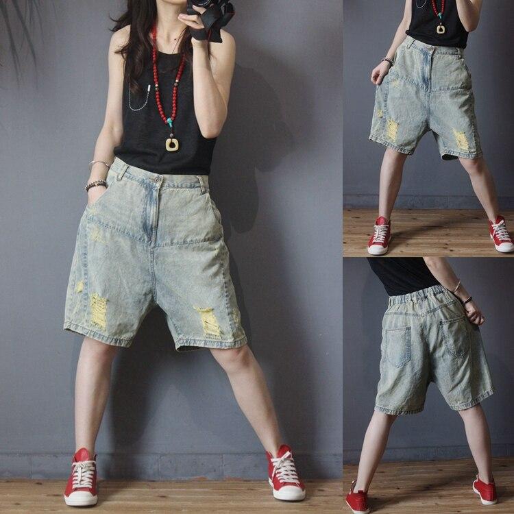 Summer New Arrivals Women Casual All-match Chic Blue Loose Plus Size Vintage Hole Denim Knee-length Elastic Waist Pants Jeans