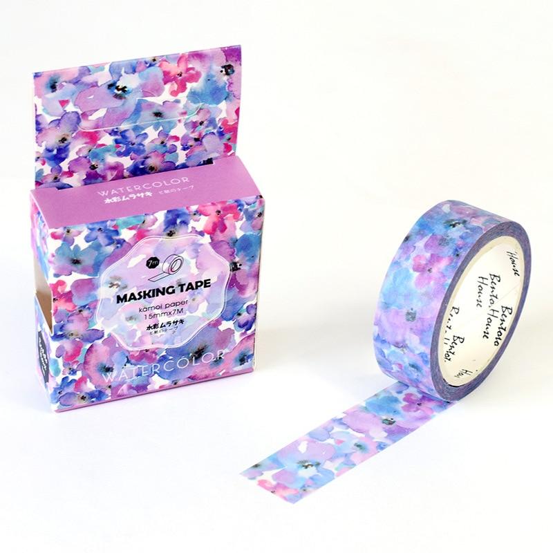 Watercolor Flower Washi Tape Adhesive Tape Diy Scrapbooking Sticker Label Craft Masking Tape