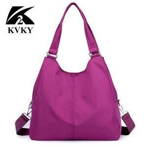Image 3 - Популярная женская сумка, повседневная большая сумка на плечо, нейлоновая сумка тоут от известного бренда, фиолетовые сумки для мам, водонепроницаемые сумки черного цвета