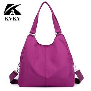 Image 3 - Gorące torebki damskie na co dzień bardzo duże torby na ramię Nylon Tote znane marki fioletowe torebki mumia torby na zakupy wodoodporne bolsas czarne