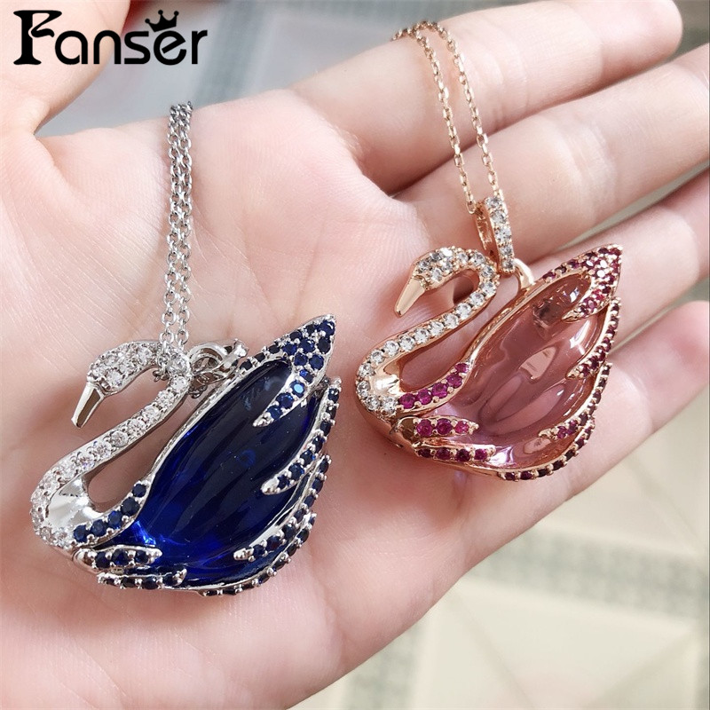 FANSER swan series Necklace Swarov Original 1:1 Ladys Fine Jewellery Free Mail Rose gold Link chain Fashion