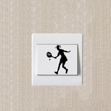 New 3D Wall Sticker Decoration Switch Ladies Fashion Tennis Childrens Room Wallpaper the of Home