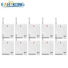 ¡Novedad! ¡venta al por mayor! Detector de puerta magnético Earykong para ventana de puerta, para sistema de alarma inalámbrico GSM de 433MHz, alarmas de apertura de puerta