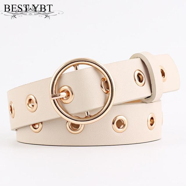 Best YBT Women leather belt  Round Metal pin buckle Circle Belts Hot Brand fashion Punk O Ring for Women belt  3