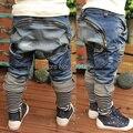 2016 новое мальчиков джинсы kidsa свободного покроя шаровары весна осень мода брюки подходят для 3-7y