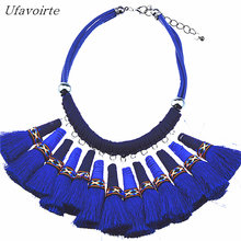 Ufavoirte Brand Design Exaggeration Handmade Tassel Colour Beach Statement Necklace For Women Collar Charm Necklace(China)