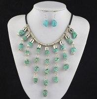S120 Onregelmatige Stone Natuurlijke Ketting Hanger & Earring Jewlery Set, vrouwen Gift, Vintage Look, Tibet Legering, groothandelaar