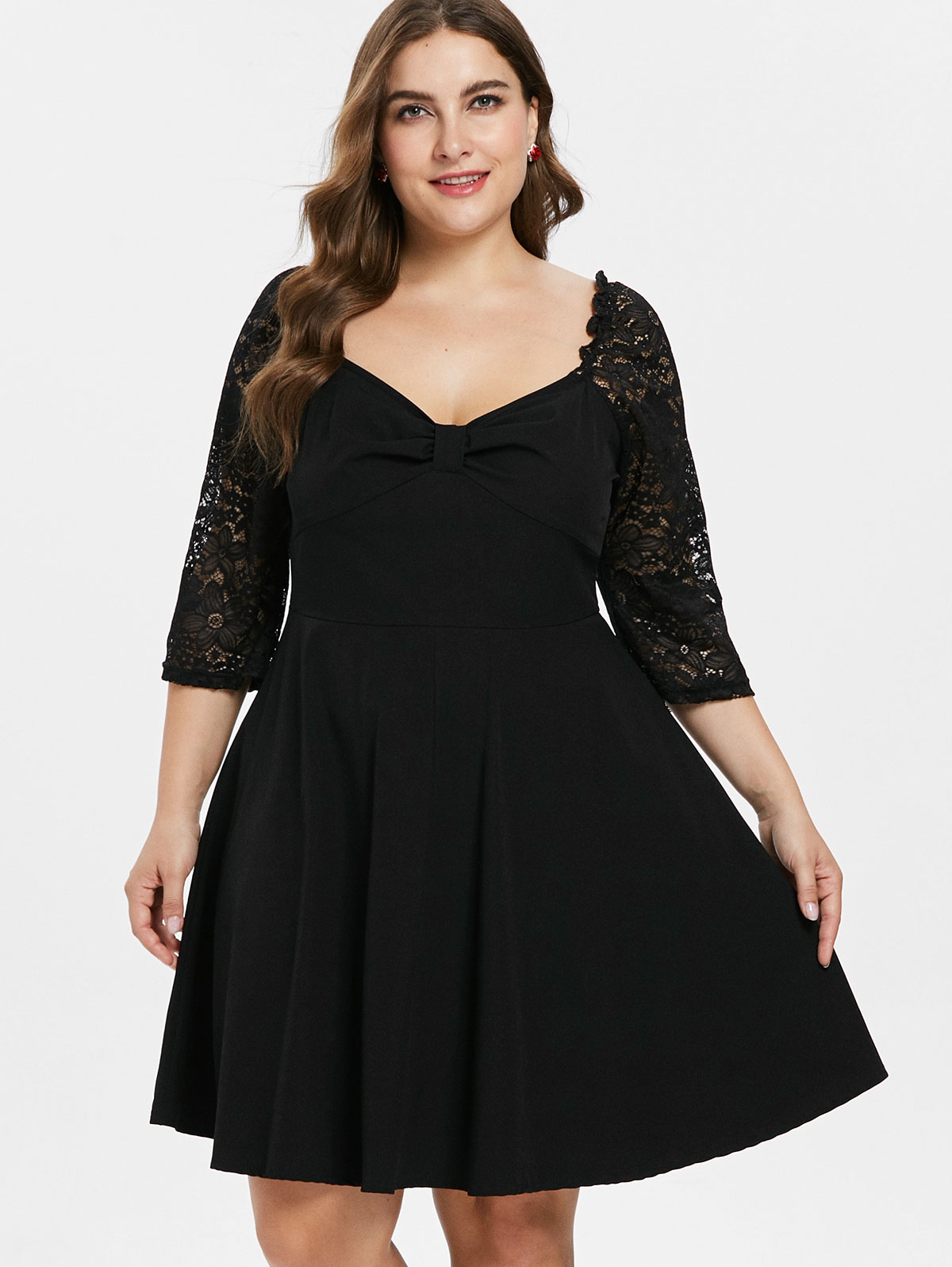 cb84b3788e Wipalo Plus Size 5XL Knee Length Lace Panel Ruched Skater Dress Solid Black  Three Quarter Sleeve A Line Party Dress Vestidos