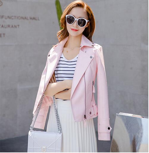 spring autumn girl pink Slim   Leather   Jacket coats 2017 new style fashion women   Leather   Jackets Women motorcycle   leather   jackets