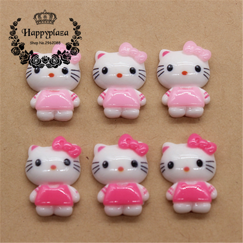 20pcs Kawaii Resin Pink/Hot Pink Cat Miniature Flatback Cabochon Art Supply DIY Craft Scrapbooking,14*20mm