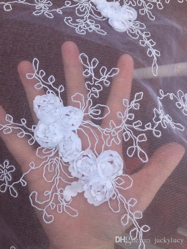 Broderie haut de gamme 3D Rose fleur dentelle chaise de mariage ceinture décorations dos couvre blanc mariage Banquet célébration fournitures - 4