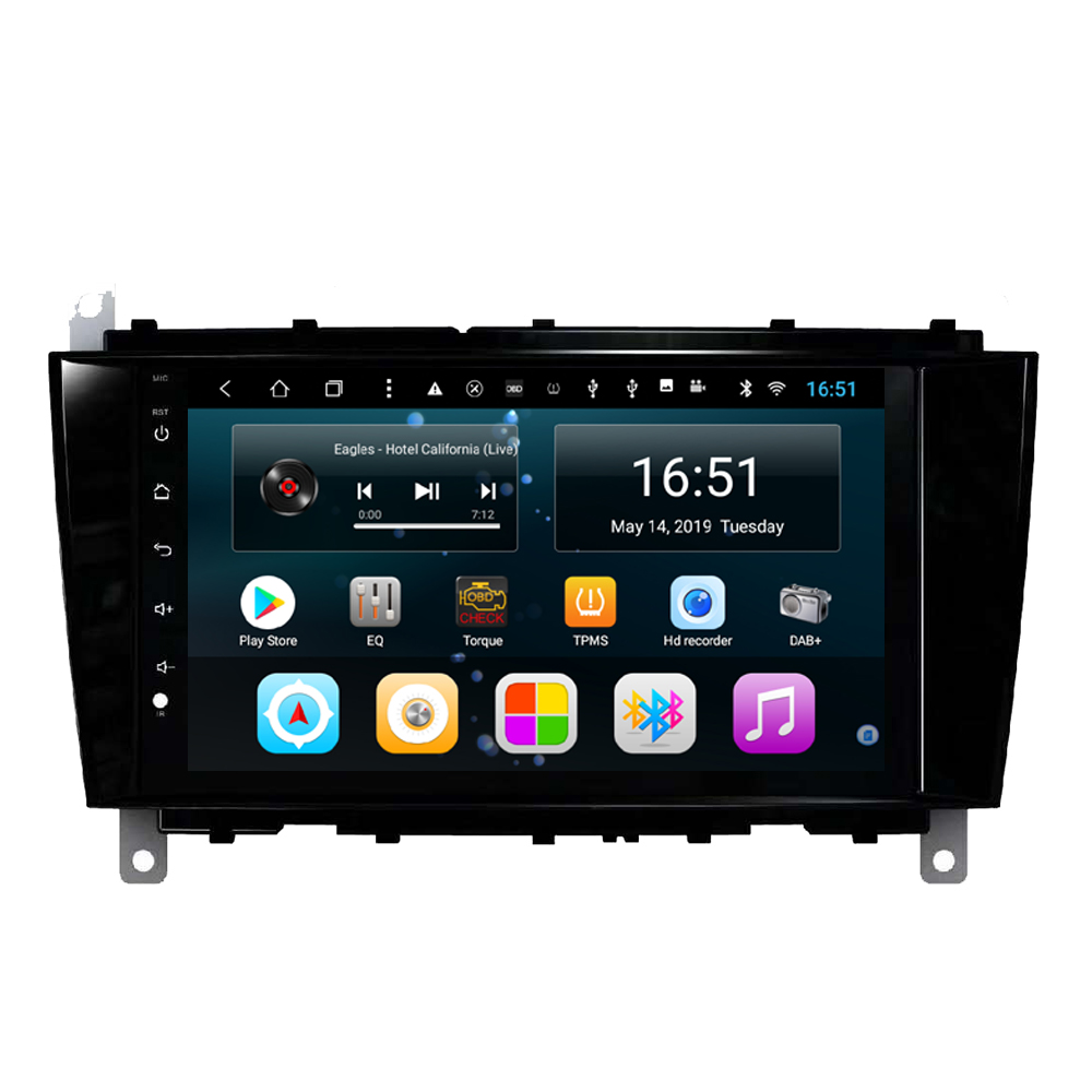 car radio HD 1080P MP3 MP4 Music Resolution HD display fast delivery for Mercedes Benz C 2004 CLK 2004- 2006 8inch Android 8.1
