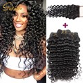 Ali queen Hair Products Virgin Malaysian Deep Wave With Closure 7A Unprocessed 4 Bundles Malaysian Deep Wave Curly With Closure