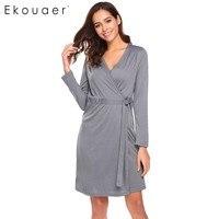Ekouear Women Robe Long Sleeve Comfort Kimono Bathrobe Lounge Spa Bath Short Style Sleepwear Bath Robe