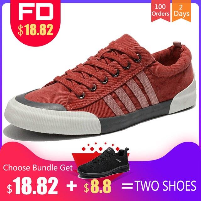 SHANTA Giày Vải Nam Thời Trang 2019 Đồng Màu Nam Lưu Hóa Giày cột dây Trắng Giày Casual Nam Sneakers