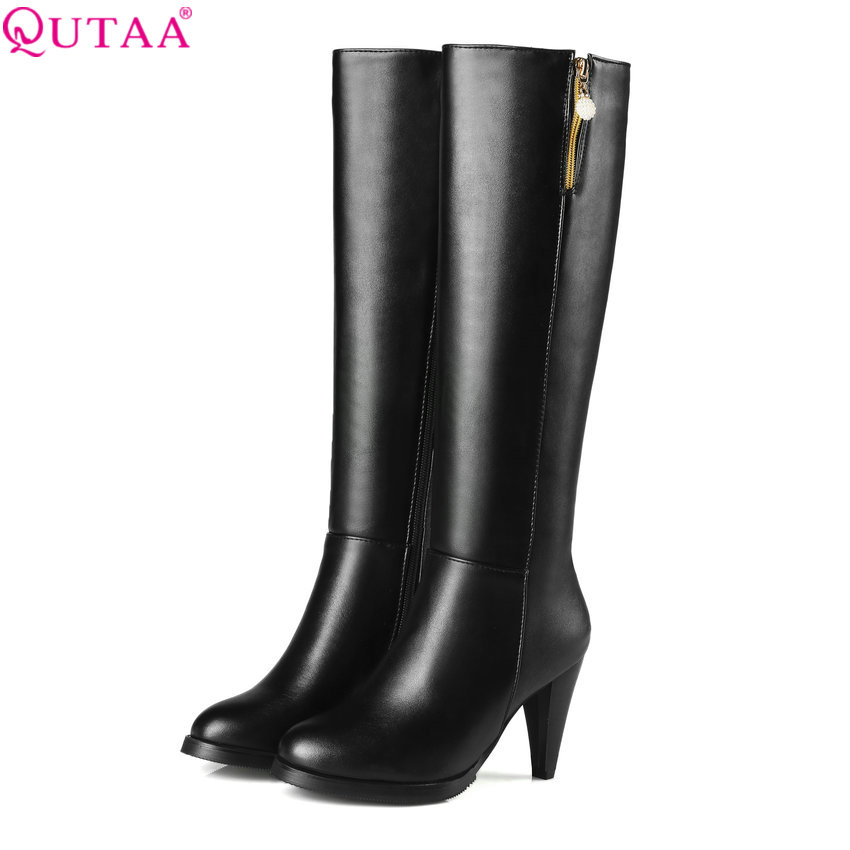 QUTAA 2018 Women Over The Knee High Boots Spike High Heel Zipper Round Toe Platform Fashion Westrn Style Women Boots Size 34-43 qutaa 2018 sexy over the knee high women boots thin high heel round toe platform fashion ladies pu leather boots size 34 43