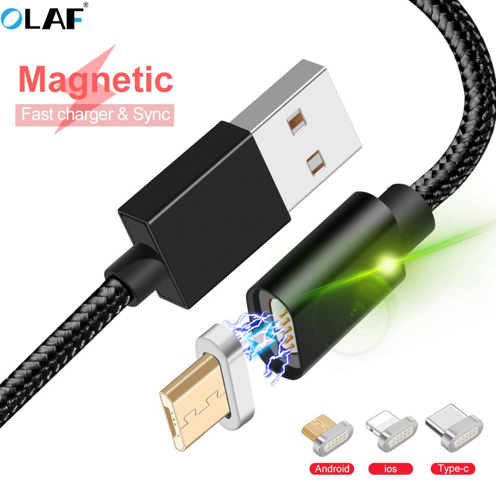 OLAF Magnetic USB Cable For iPhone Charger Magnet Data Charging Charge Type C Micro USB Ca