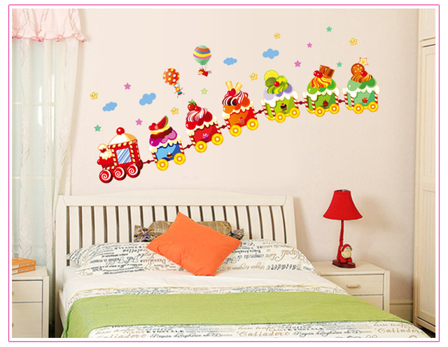 Ice cream small train diy wall stickers nursery kids room wall decals wall paper art room