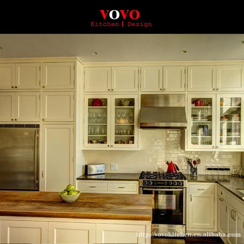 Modern Design L Shaped Solid Wood Kitchen Cabinet-in