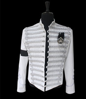 Custom Made New MJ Professional Cosplay MICHAEL JACKSON Costume Retro Punk White Jacket British Army Dress Coat