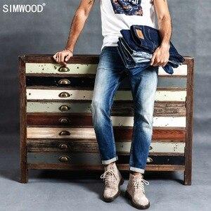 Image 2 - Simwood 洗浄スリムフィットジーンズの男性古典的なヴィンテージ高品質 2020 春春の新カジュアルストリートデニムズボン 190026