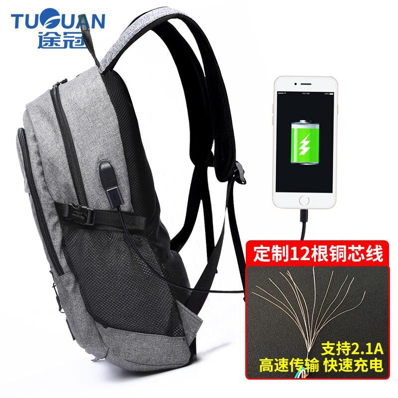 Купить с кэшбэком TUGUAN Men's Backpack Bag External USB Charge Brand 14-15Inch Laptop Notebook Mochila for Men Waterproof Grey laptop backpack