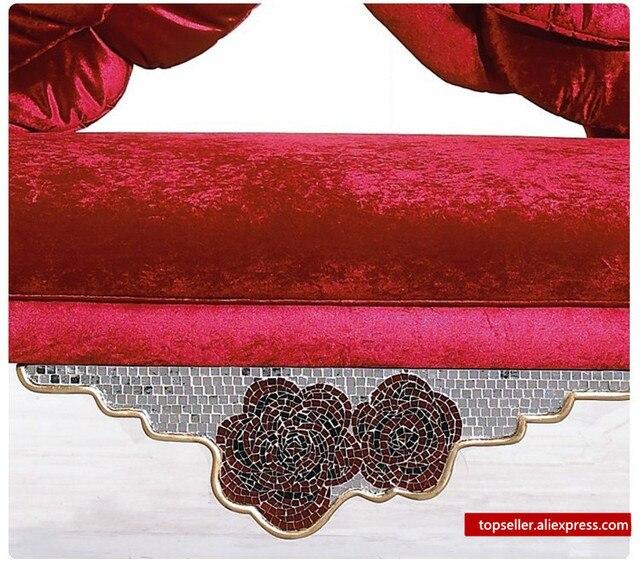 Russia style fabric sofa red rose sofa living room furniture set