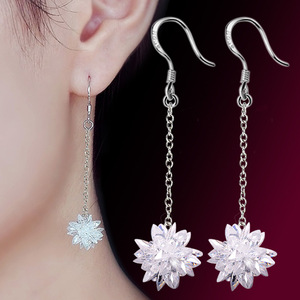 Hot sell fashion white crystal ice flower female 925 sterling silver ladies`drop earrings shipping jewelry cheap gift birthday