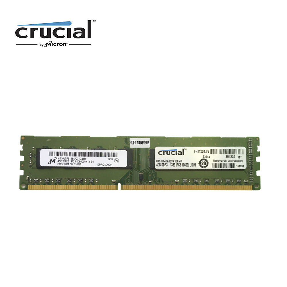 Crucial DDR3 4G 1333MHZ 1.5V CL9 PC3-10600U 240pin 8G=2PCSX4G Desktop Memory RAM kingston ecc memory ram ddr3 4g 1333mhz cl9 240pin 1 5v pc3 10600u working on workstation and servers