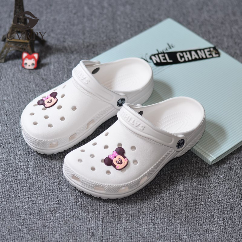 New Summer White Belt Shoes Flower Thick Bottom Doctor Nurse Medical Shoes Ladies Non-slip Slippers Casual Large Size Sandals
