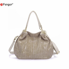 FENGER Brand New Genuine Leather Bags Fashion Women Tote Bag with Tassel Female Serpentine Pattern Leather Shoulder Bag