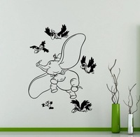 New arrival Cute DIY Art Decor Dumbo Elephant Wall Sticker Vinyl Decal Nursery Kids Room Removable Wall Decals