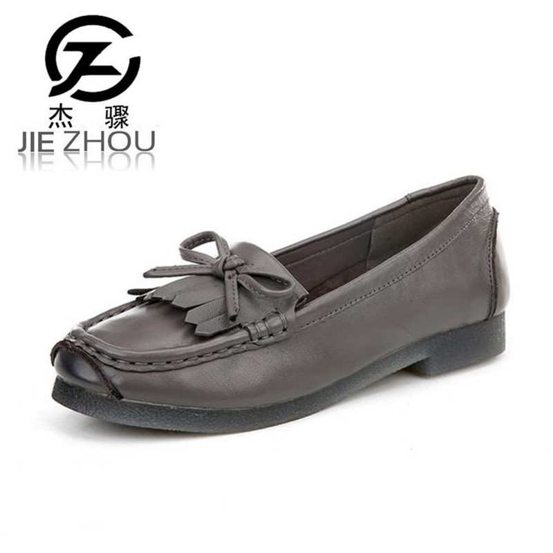 Flats casual women's shoes soft bottom Big size 40 41 mom shoes Genuine Leather tassel Ladies Shoes damen schuhe boty obuv genuine leather mom shoes retro flowers soft bottom flats shallow mouth women shoes comfortable large size elderly shoes obuv