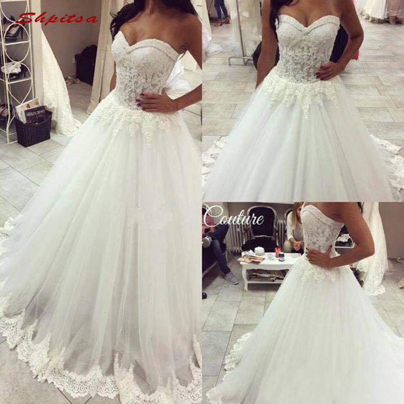 Lace Wedding Dresses Tulle Beaded Crystal Plus Size Bride Bridal Weding Weeding Dresses Wedding Gowns 2019