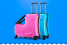 Children riding trolley case hardside luggage.TRAVEL ASSISTANT.baby'gift.kids aluminium boarding bag.child waterproof suitcase-6